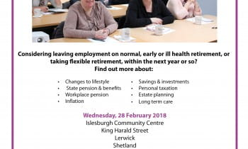 (Rescheduled) Planning for Retirement Course - Shetland